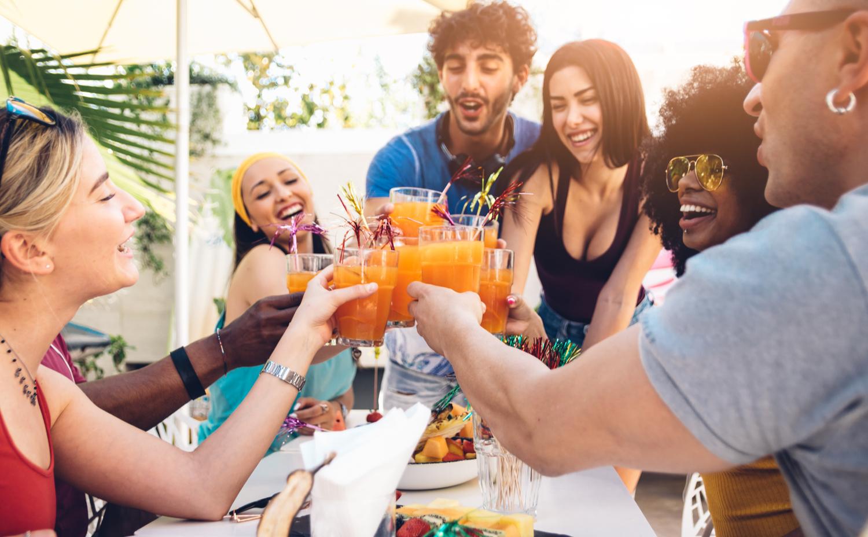 Friends having cocktails