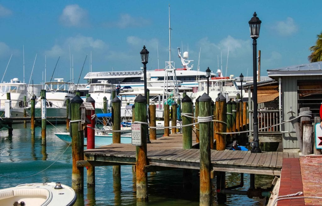 Boats at dock in Historic Seaport in Key West