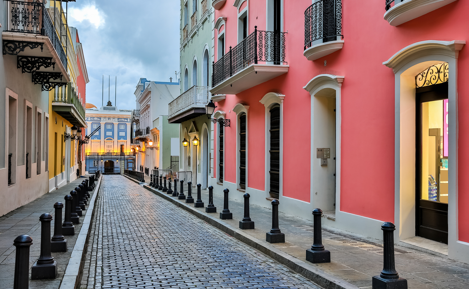 Street with colorful houses in San Juan Puerto Rico