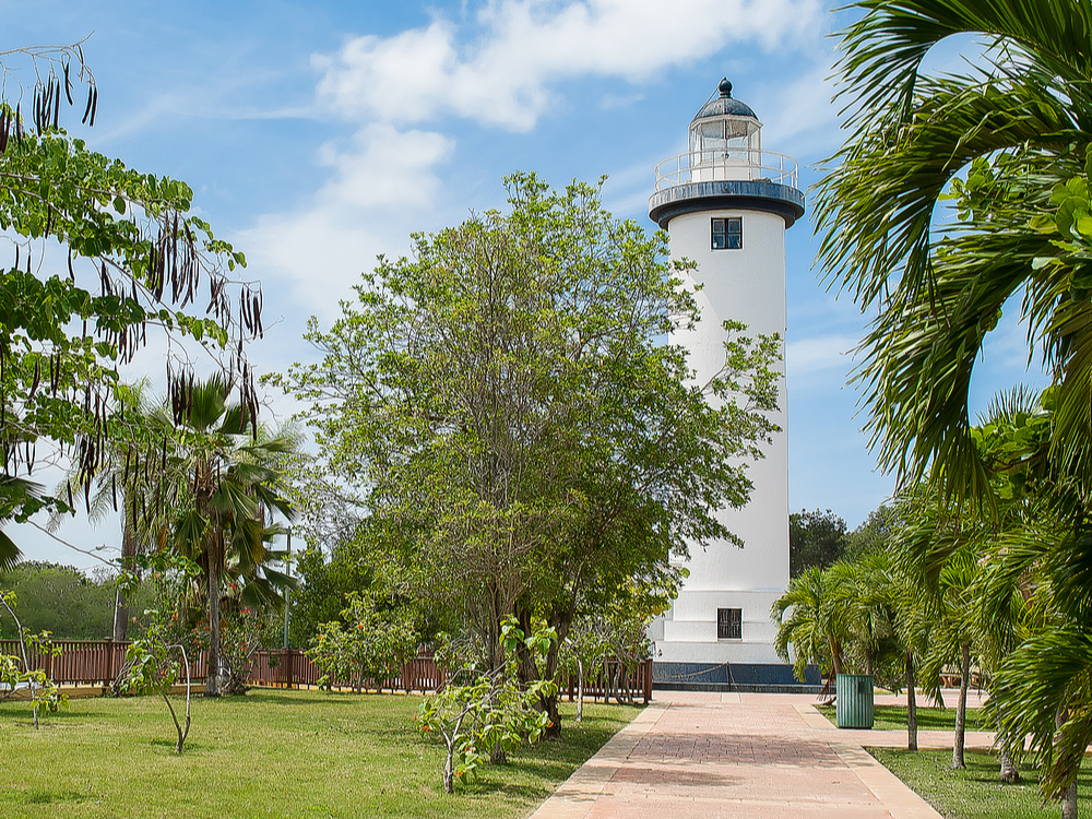 Beautiful white lighthouse in Puerto Rico